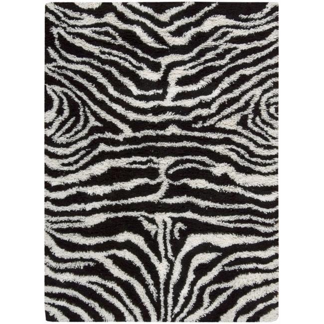 Nourison Splendor Hand-tufted Black/White Rug (7'6 x 9'6)