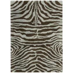 Nourison Splendor Hand-tufted Aqua Brown Rug (2'3 x 3'9)