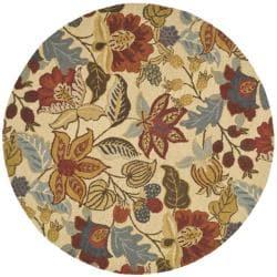 Handmade Jardine Foilage Beige/ Multi Wool Rug (6' Round)