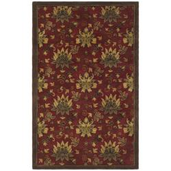 Handmade Jardine Red/ Multi Wool Rug (5' x 8')