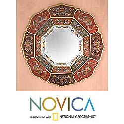 Hand-painted Glass 'Colorful Octagon Flower' Mirror (Peru)