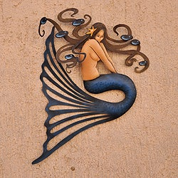 Steel 'Shy Mermaid' Wall Art (Mexico)