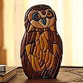 Ishpingo Wood 'Wise Owl' Statuette (Peru)
