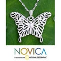 Sterling Silver 'Butterfly Beauty' Necklace (Thailand)