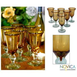 Set of 6 'Golden Amber' Blown Glass Goblets (Mexico)