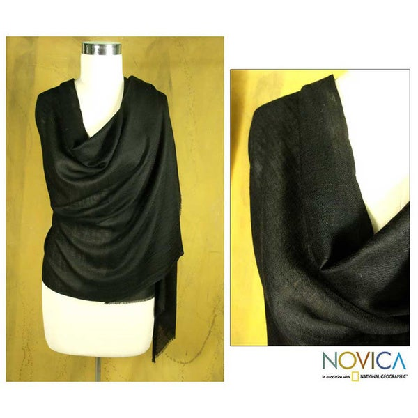Silk and Cashmere Wool 'Ebony Elegance' Shawl (India)