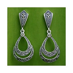 Sterling Silver Marcasite 'Chiang Mai Mystique' Dangle Earrings (Thailand)