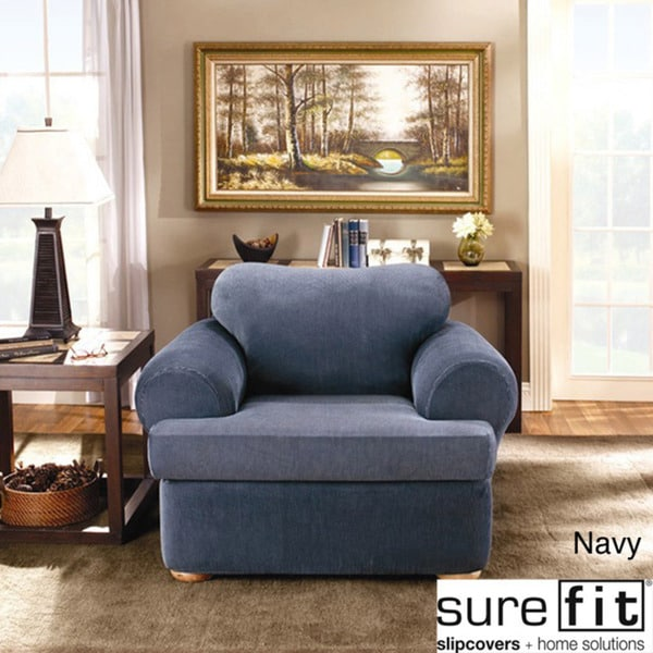 Sure Fit Stretch Stripe 2 Piece T Cushion Chair Slipcover Overstock Shoppin