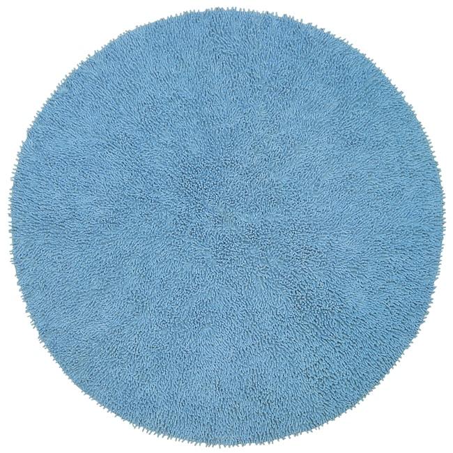 Handwoven Light Blue Chenille Shag Rug 339; Round  Overstock