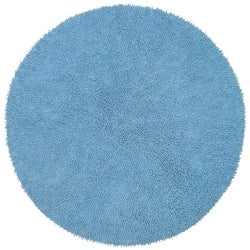 Hand-woven Light Blue Chenille Shag Rug (3' Round)