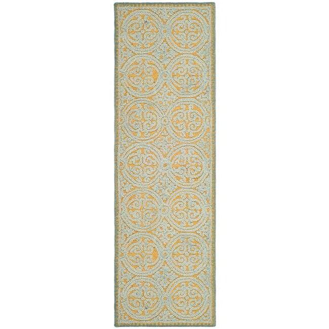 Safavieh Handmade Moroccan Cambridge Blue Wool Rug (2'6 x 12')