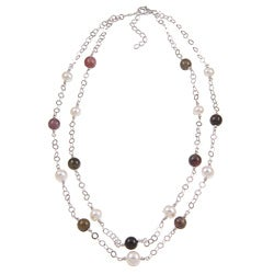 Kabella Sterling Silver Tourmaline and Freshwater Pearl Necklace (7-8 mm)