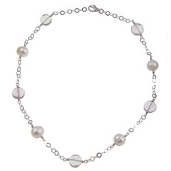 Kabella Sterling Silver White Pearl and Multicolor Flourite Necklace (9-10mm)