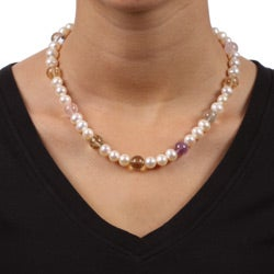 Kabella Silver Freshwater Pearl and Multi-colored Quartz Necklace (8-9 mm)