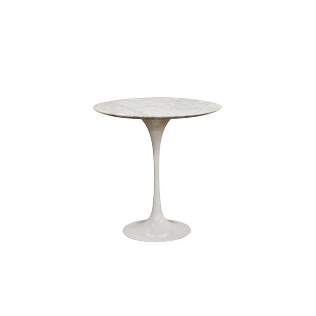 Immer White Marble Mid-century Style End Table