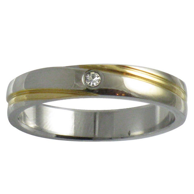 Two-tone Stainless Steel Cubic Zirconia Band (3.9 mm)