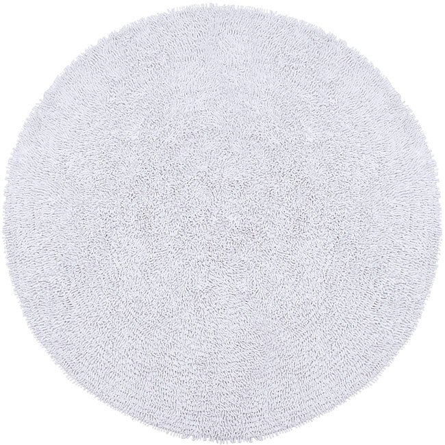 Hand woven white chenille rug 3 39 round overstock shopping great deals on round oval square - Cozy white shag rug for the comfortable steps sensation ...