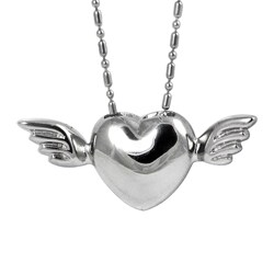 Stainless Steel Winged Heart Necklace