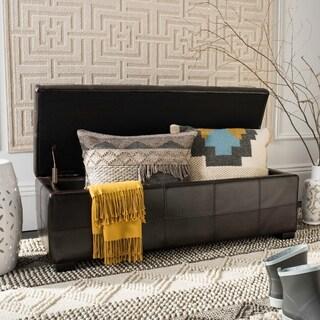 Safavieh Madison Brown Bicast Leather/Wood Storage Bench