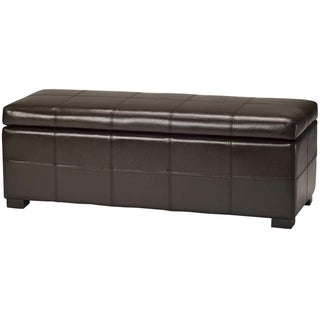 Safavieh Madison Brown Bicast Leather/Wood Storage Bench