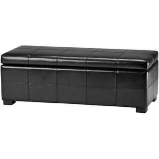 Safavieh Madison Black Bicast Leather Storage Bench