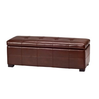 Safavieh Maiden Tufted Cordovan Bicast Leather Storage Bench