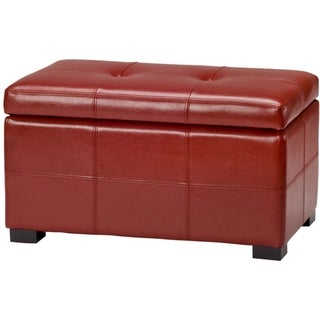 Safavieh Maiden Tufted Red Bicast Leather Storage Bench
