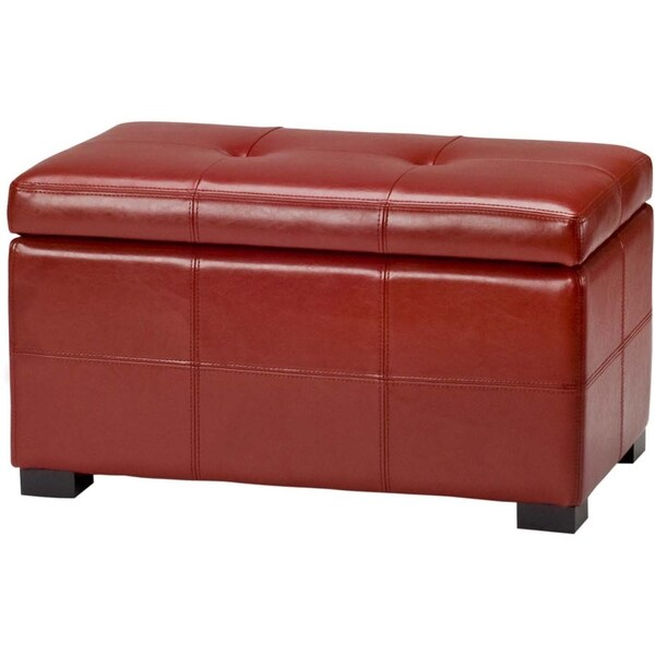 Safavieh Maiden Tufted Red Bicast Leather Storage Bench Overstock Shopping Great Deals On