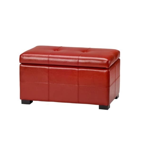 Safavieh Maiden Tufted Red Bicast Leather Storage Bench