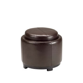 Safavieh Chelsea Brown Bicast Leather Round Tray Ottoman