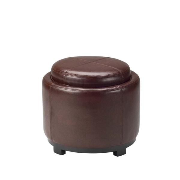 Safavieh Chelsea Cordovan Storage Leather Round Tray Ottoman