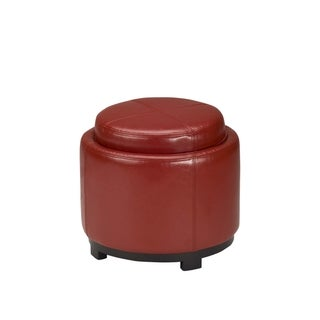 Safavieh Chelsea Red Leather Round Tray Ottoman