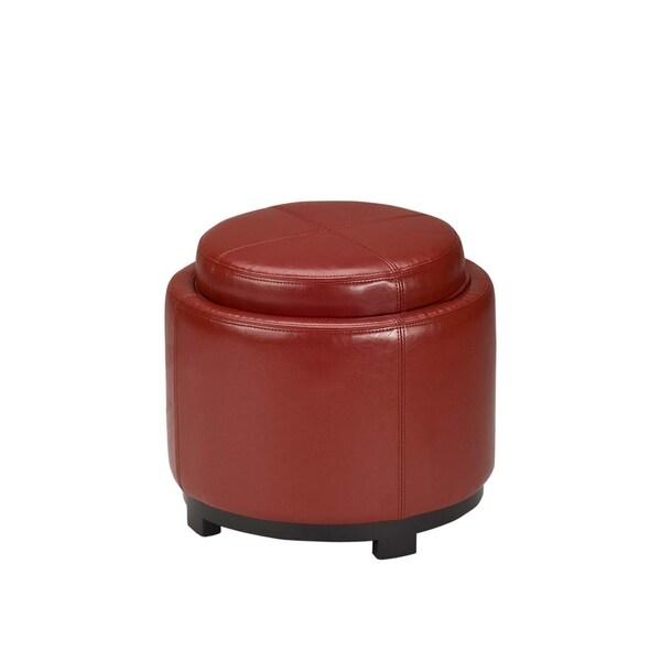Safavieh Chelsea Storage Red Leather Round Tray Ottoman