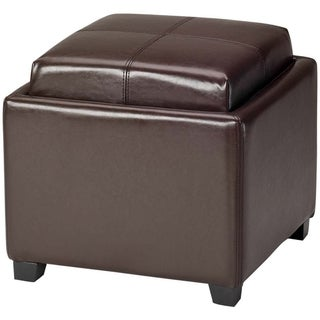 Safavieh Harrison Storage Brown Leather Tray Ottoman