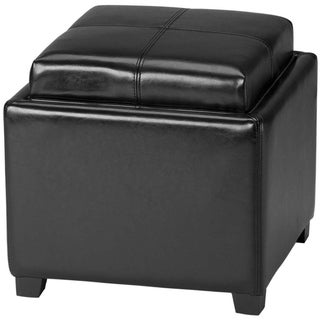 Safavieh Harrison Storage Black Leather Tray Ottoman