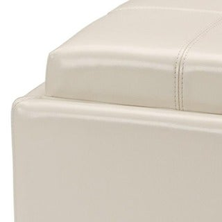 Safavieh Harrison Storage Cream Leather Tray Ottoman