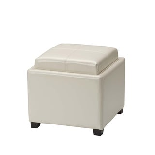 Safavieh Harrison Cream Leather Tray Ottoman