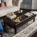 Fulton Brown Bicast Leather Rectangle Ottoman