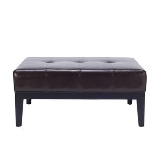 Safavieh Fulton Brown Bi-Cast-Leather Square Ottoman