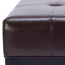 Safavieh Fulton Brown Bi-cast Leather Square Ottoman