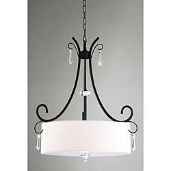 Indoor 5-light Antique Bronze/ Crystal Drops Chandelier