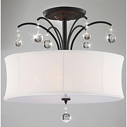 Indoor 5-light Antique Bronze White Shade Flush Mount Chandelier
