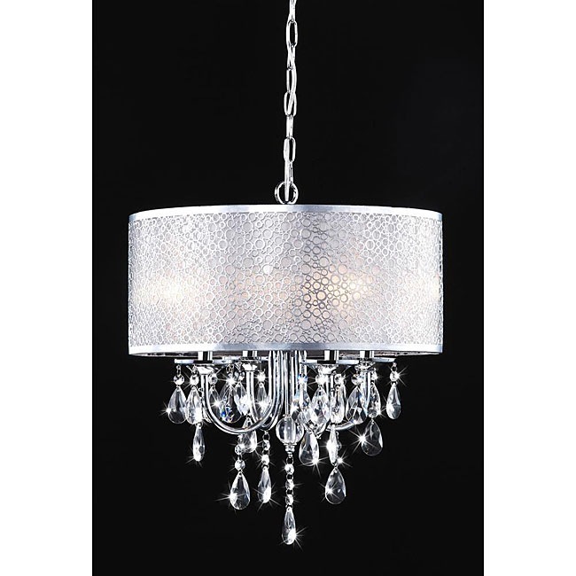 Indoor 4 light Chrome Crystal White Shades Chandelier : Indoor 4 light Chrome Crystal White Shades Chandelier L12994824 from www.overstock.com size 650 x 650 jpeg 47kB