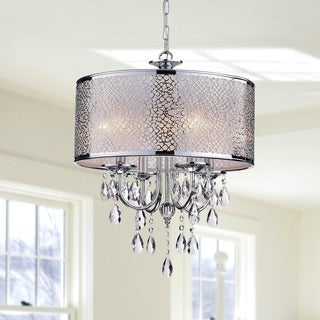 Indoor 4-light Chrome/ Crystal/ White Shades Chandelier