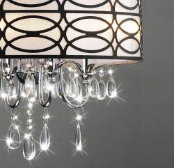 Indoor 4-light Chrome/ Crystal/ Antique Bronze Shade Chandelier