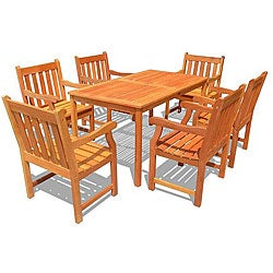 Eucalyptus Wood English Garden XXVI 7-piece Outdoor Dining Set