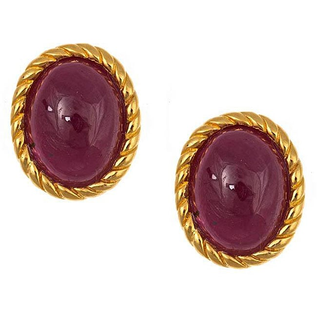 Anika and August Gold over Silver Oval-cut Indian Ruby Earrings