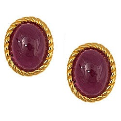 D'Yach Gold over Silver Oval-cut Indian Ruby Earrings