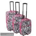 World Traveller Zebra Pattern Expandable 3-Piece Upright Luggage Set