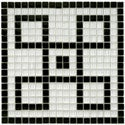 SomerTile 12x12-in Reflections Greek Key 0.5-in Ice White Mural Glass Mosaic Tile (Pack of 4)